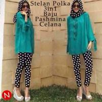 hijab 3in1 kaos lengan panjang polos tosca + pashmina + celana polkado