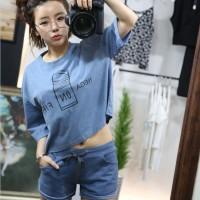 Set Setelan Kaos Tumblr + Boxer Hot Pants Biru, Pink, Abu-abu Import