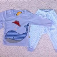 baju tidur anak/baju tidur bayi motif ikan paus