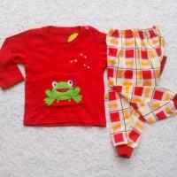 Setelan baju panjang anak/piyama anak/piyama bayi motif kodok lucu