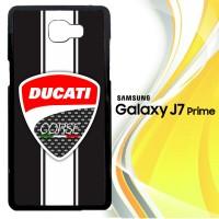 Logo Ducati Corse White Strip X3374 Casing HP Samsung Galaxy J7 Prime