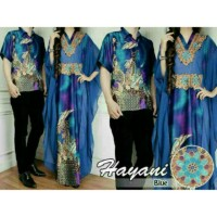 Couple kaftan Aryani Biru, baju muslim pasangan batik hayani Blue