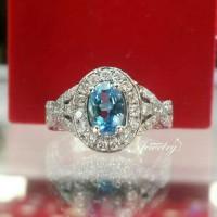 PROMO Cincin Emas Berlian Natural Diamond Batu Blue Topaz