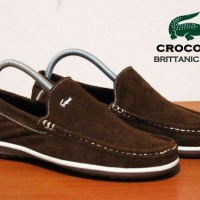 sepatu crocodile slipon brown kulit suede ori handmade