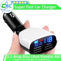 Charger Mobil, Car Charger, CHARGER 3.4A Bisa lihat kondisi Aki Mobil