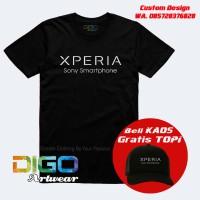 kaos sony xperia / kaos hp android sony z aqua distro BONUS TOPI