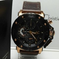 JAM TANGAN ALEXANDRE CHRISTIE 9205-MC BLACK ROSE-GOLD, BROWN LEATHER