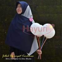 Jilbab Wolfis Segi Empat Kombinasi Dongker Abu 150 x 150 cm ( Hijab )