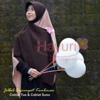 Jilbab Wolfis Segi Empat Kombinasi Coklat Tua Coklat Susu 150 x 150 cm