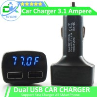 harga 4 In 1 Usb Car Charger, Charger Mobil, Termometer,voltmeter Mobil Tokopedia.com