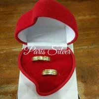 kotak perhiasan emas kawin cincin lamaran love merah hati nikah box