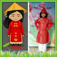 Kostum Baju Negara Vietnam Anak Perempuan Import Size Besar 8-12 Tahun