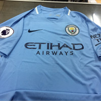 JERSEY BAJU BOLA MANCHESTER CITY HOME 17/18 FULL PATCH EPL GRADE ORI