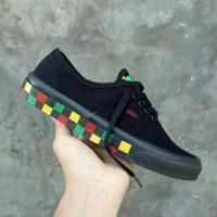 sepatu vans authentic chekertape black rasta code dt