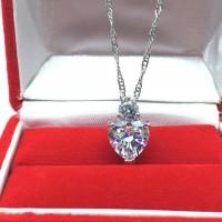 Kalung Silver Lapis Emas Putih Pendant Batu Love Hati Putih - BN068