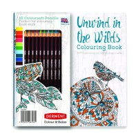 Jual Derwent Unwind in the Wilds Colouring Book and Pencil Set Murah