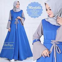 Baju Pakaian Wanita Gamis Hijabers Marbella Dress Blue