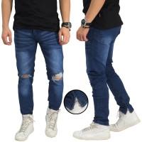 Jual Jeans Knee Rips With Ankle Zip Dark Blue Murah
