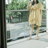 Terusan Ikat: Dress Kaftan Serut Batik Pastel