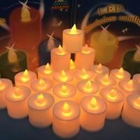 Jual LILIN LED BULAT /LILIN ELEKTRIK PUTIH / SMOKELESS CANDLE Murah