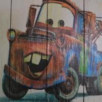 POSTER KAYU Film Kartun Cars Cocok untuk Hiasan Dinding