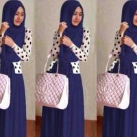Jual shereen set navy baju muslim gamis remaja trendy shiren set navy Murah