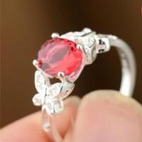 Double Kupu-Kupu Hias Cincin Berlian Ruby (Merah)