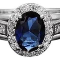 Bluelans oval kubik Zirconia 925 Perak