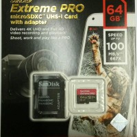Sandisk Extreme PRO MicroSDXC UHS-I Card + Adapter 64GB up to 100mbps