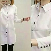 hem aqua button putih fashion wanita atasan cwe kemeja perempuan