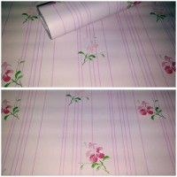 Walpaper Sticker Dinding Pink Garis Bunga
