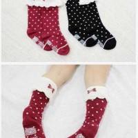 Jual (1seri 12pc)Middle baby socks polka antislip/kaos kaki Natal 18-36bln Murah