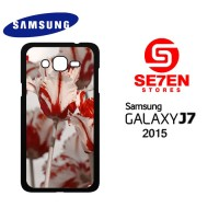 Casing HP Samsung J7 2015 White Red Tulips Custom Hardcase