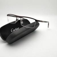 Kacamata Bingkai Setengah Cartier Coklat Paket Lensa Minus Anti Radias 8f1df57c92