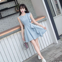 Mini Dress Blue Biru Polos Wavy Form Elegant Terbaru Modern Style 14