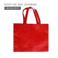Per 12pc Tas Spunbond 40x35x10cm Kotak Merah Polos  Totebag Goodiebag