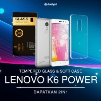 2in1 Tempered Glass LENOVO K6 + Soft Case Casing LENOVO K6 POWER