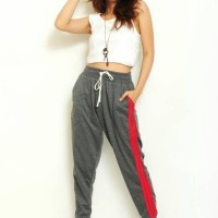 Jual Cherryl Dark Grey Stripe Red Jogger Training Pants Wanita Okechuku Murah