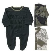 Next UK Camouflage Slogan Sleepsuits 3pcs (12-18 months)