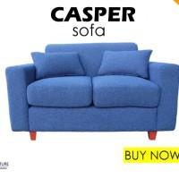 Sofa Casper Blue 2 Seater - Kaki Kayu (Busa Super)