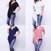 blouse knot hitam putih baju kekinian murah cewek wanita berkualitas