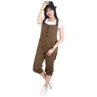 Baju Overall Celana Wanita Cewek Cewe Terbaru Warna Coklat NU 127 CZ