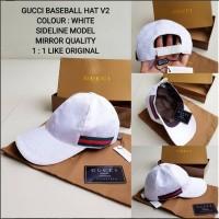 topi GUCCI BASEBALL HAT SIDELINE WHITE V2 MIRROR QUALITY import keren