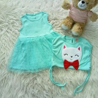 Dress bolero white smiling cat baju bayi anak