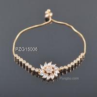 Gelang emas rantai bunga kristal serut all size PZG15006
