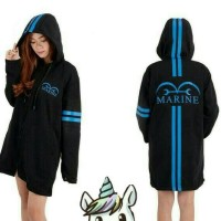 Jaket Jubah Anime One Piece (Marine) Hitam - Sweater Hoodie Pd