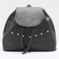 tas ransel hitam polos wanita remaja backpack unik kekinian terbaru