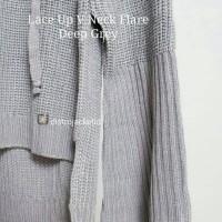 Jual [TERLARIS] Sweater Lace Up VNeck Flare Deep Grey- Sweater Musim Dingin Murah
