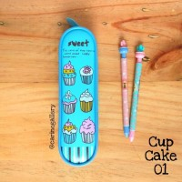 Tempat Pensil/Pencil Case - Cup Cake 01 (Blue)