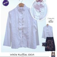 White Ruffles Shirt, kemeja ruffles